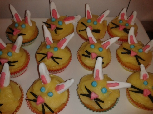 Rabbit-faced cupcakes for Grace's Birthday