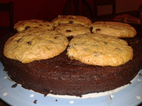 Calebs special Birthday Cake: Chocolate Chips Cookie Chocolate Cake